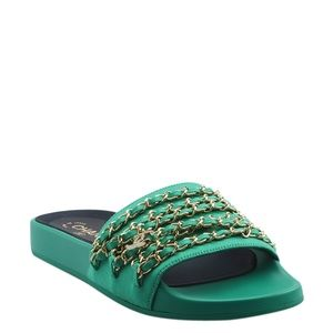 Chanel Green Canvas & Leather Sandals  (146642)